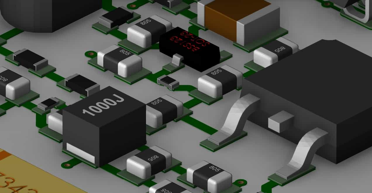 A 3D screenshot of a PCB layout from Allegro