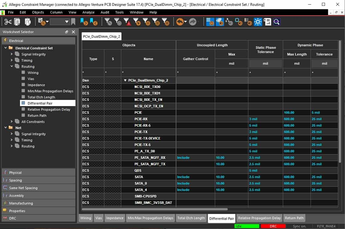 Differential pair rules being set up in the Cadence Allegro rules and constraint editor