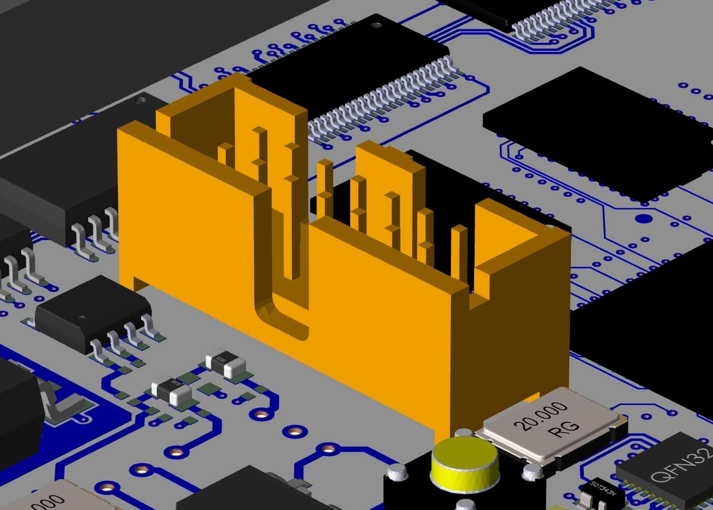 A 3D PCB footprint of a header