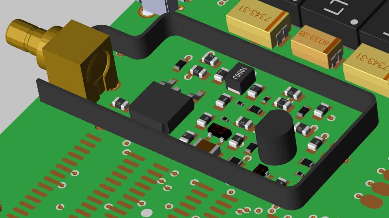 A shielded area on a circuit board that is using the PCB grounding techniques of the board