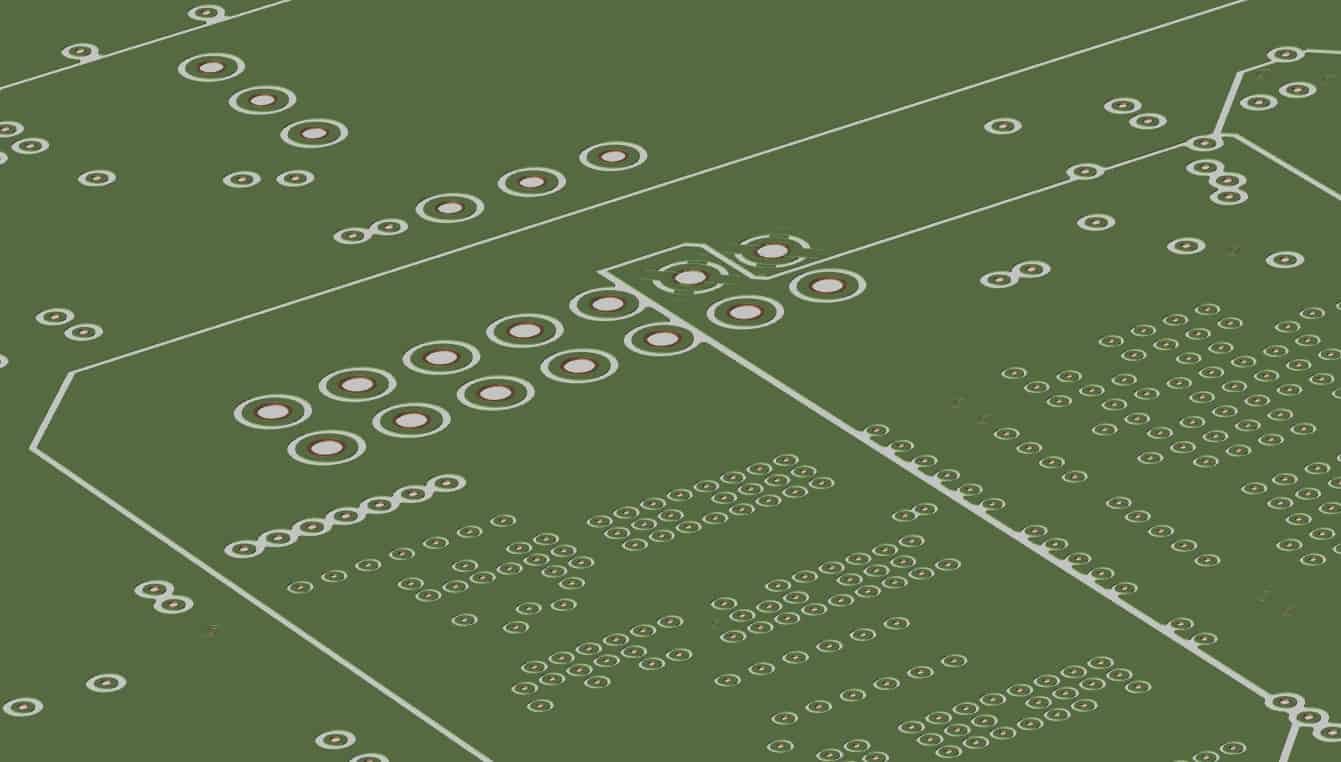 The split planes of a circuit board design displayed in Allegro's PCB Editor