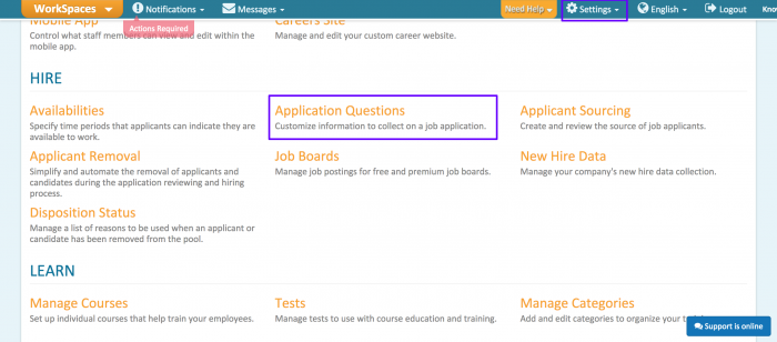 2. Scroll down and click on Application Questions section.