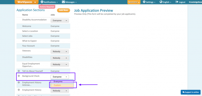 3. Scroll down to the Background Check step in the Application Sections menu. Click the dropdown arrow to select Custom.