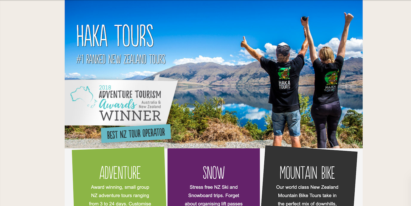A screenshot of Haka Tour's website homepage before the redesign