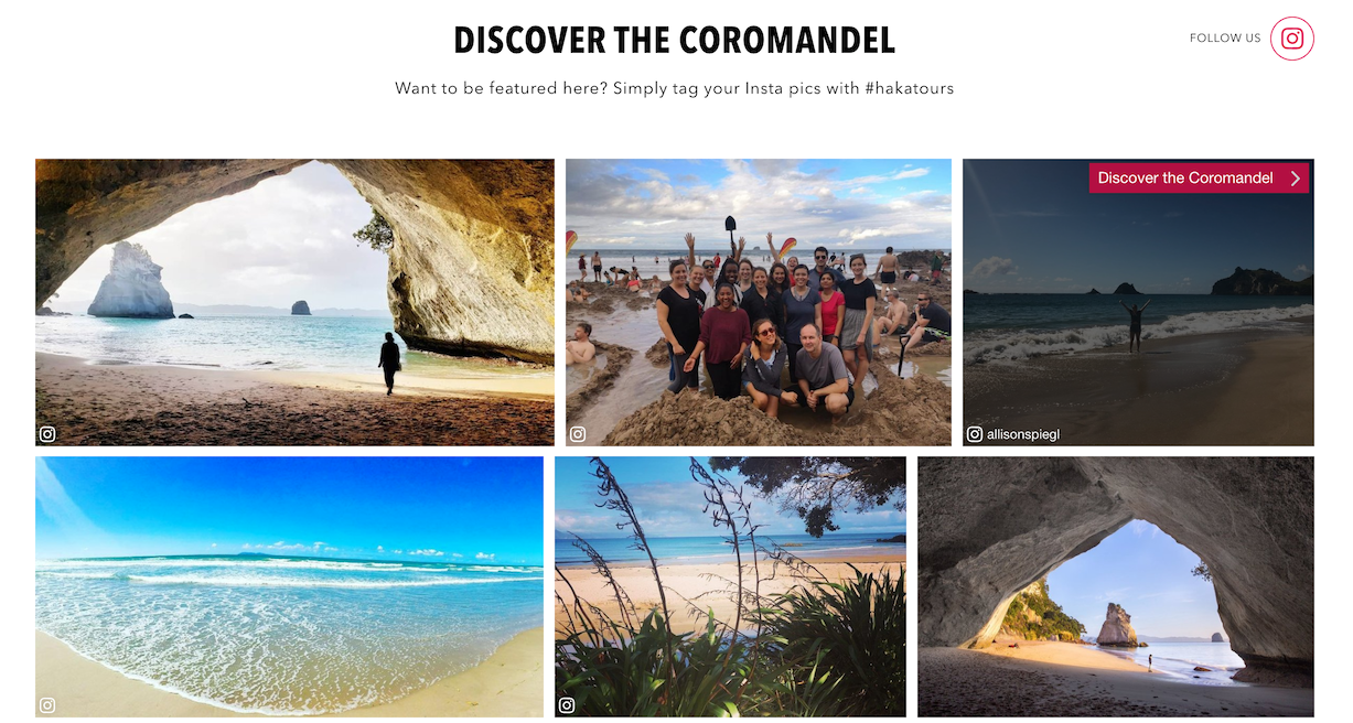 An example of an individual CrowdRiff gallery for the Coromandel region.