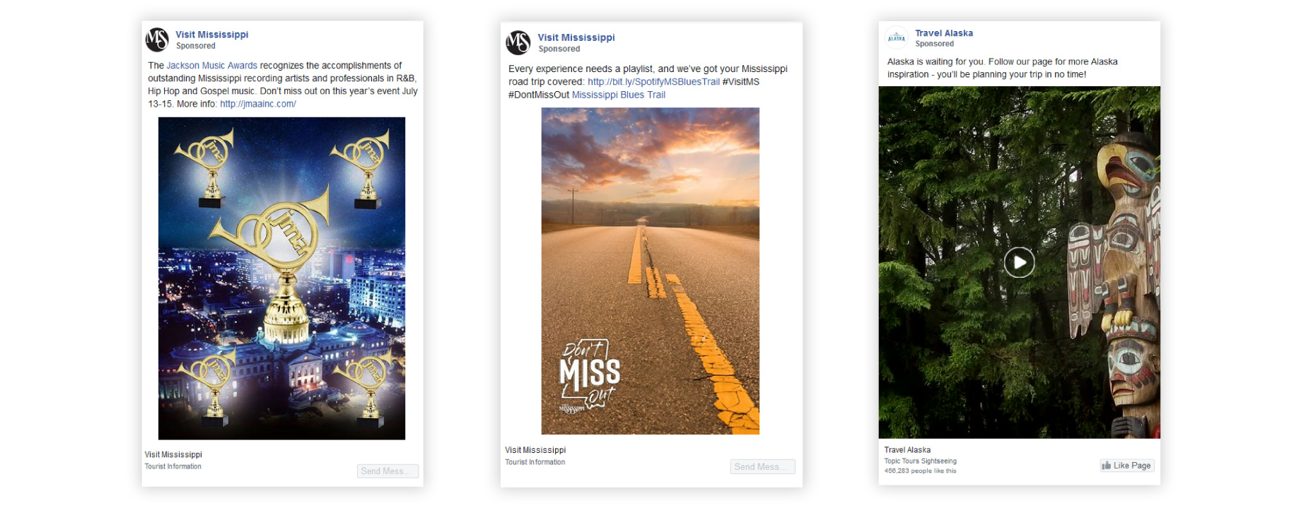 Facebook ad examples from destination marketing organizations