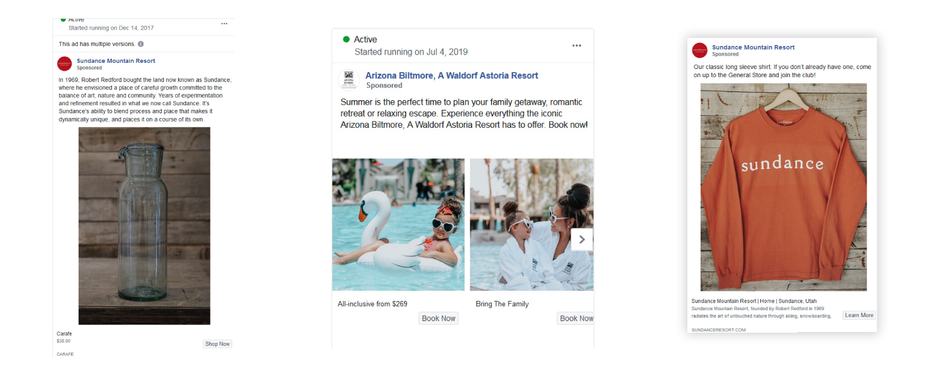 Facebook ad examples from resorts and hotels