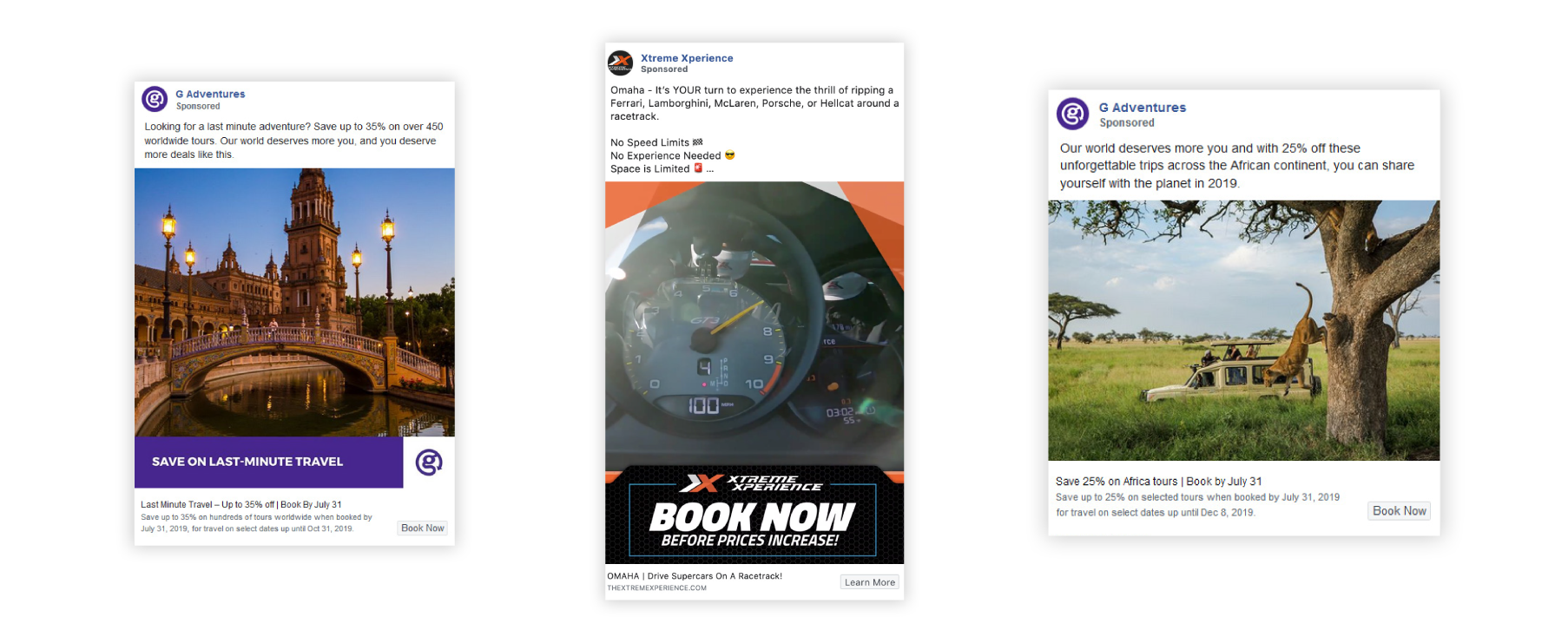 Facebook ad examples from tour operators