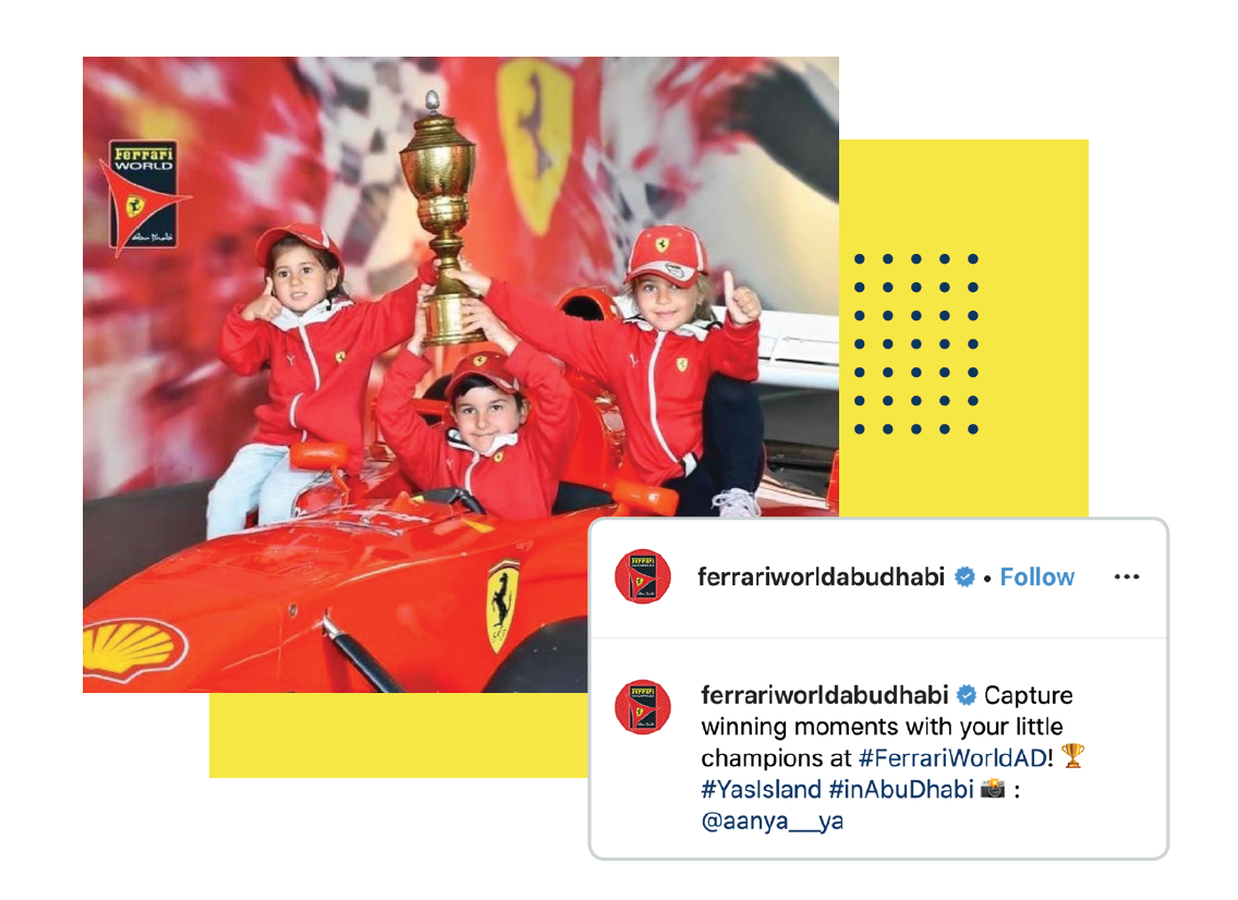 When reposting content, Ferrari credits the original photographer on their social media account.