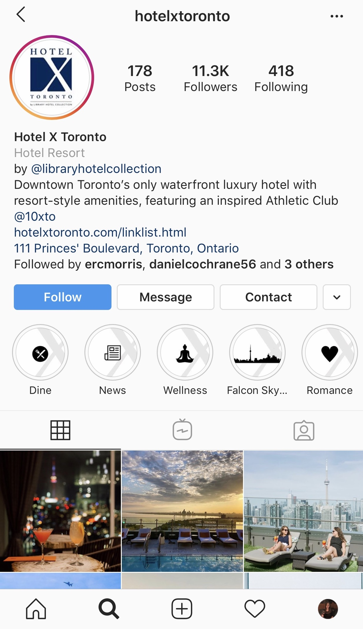 Hospitality bio showing a variety of activities on Instagram Highlights