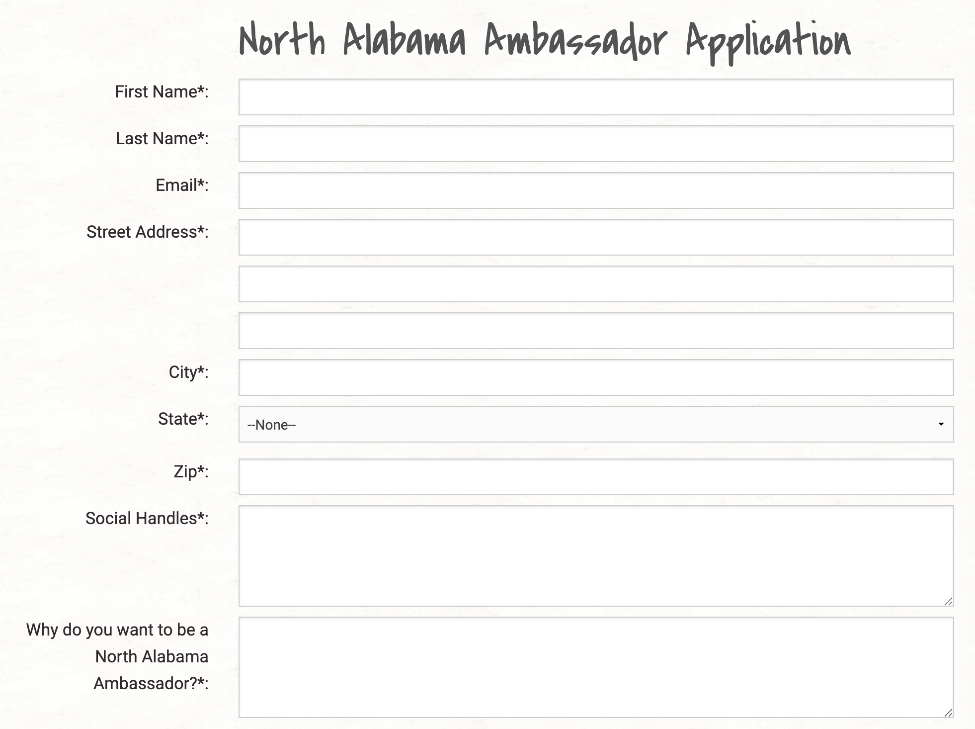 North Alabama Tourism Ambassador Program Application example.