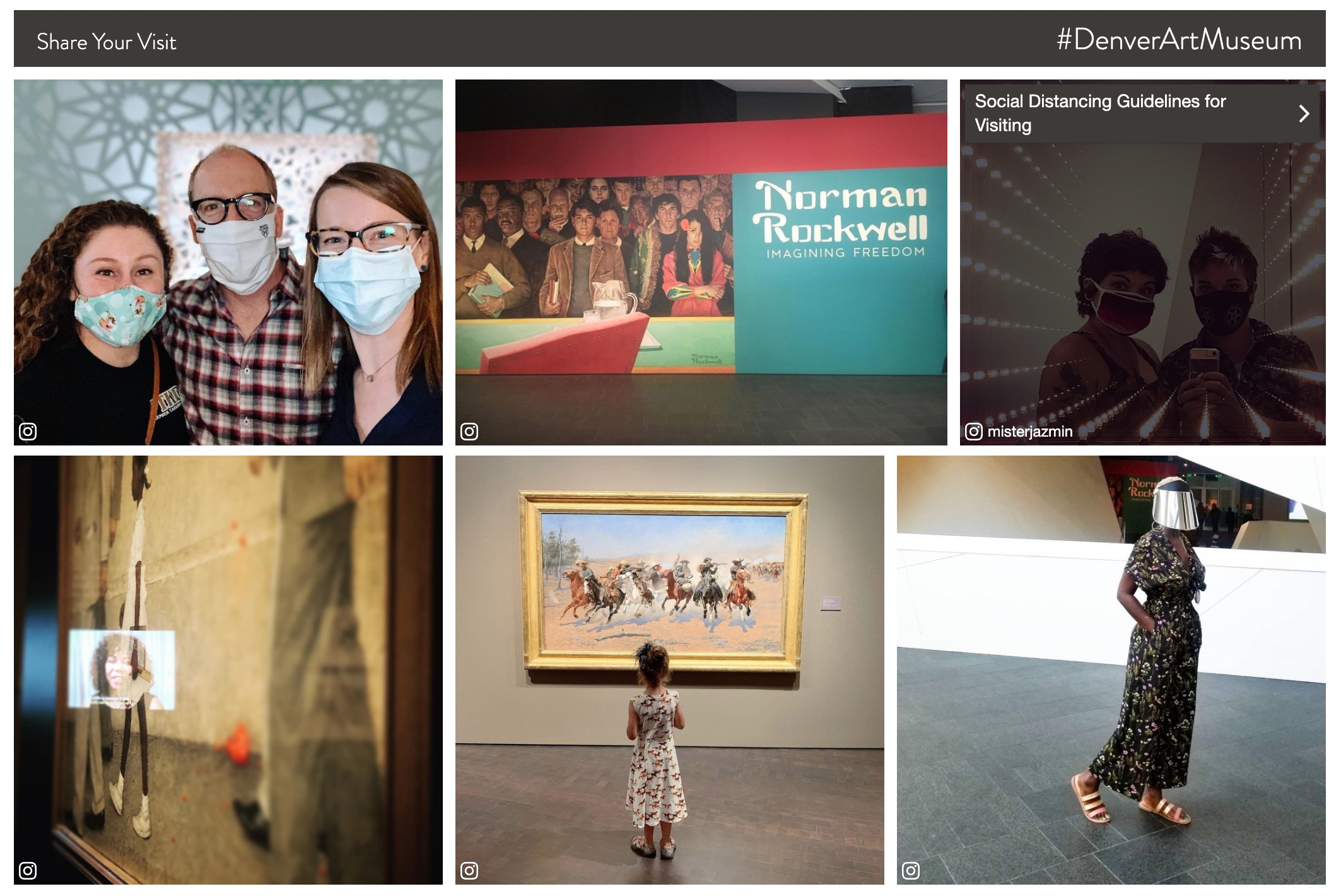 UGC gallery on museum website with calls to action