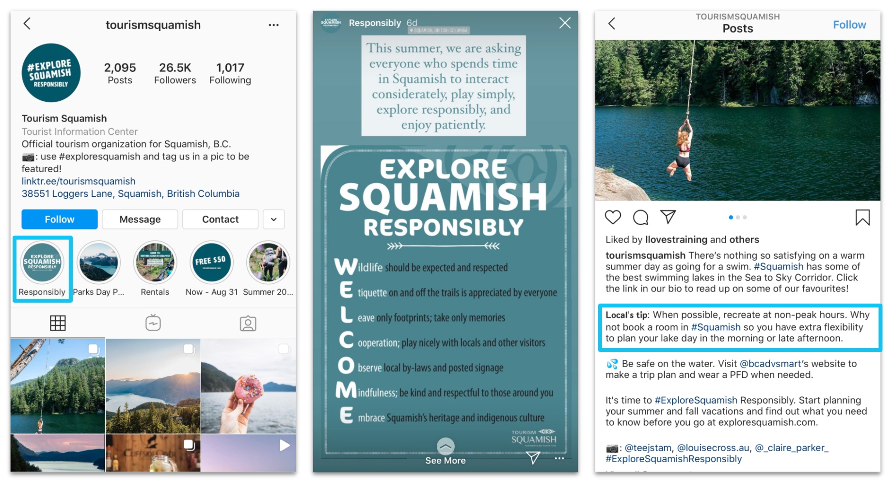 Explore Squamish messaging social media