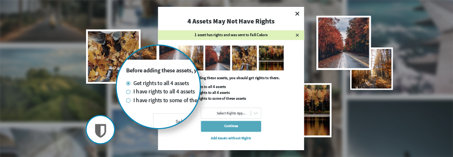 Now you can request rights as you add visuals to a Gallery