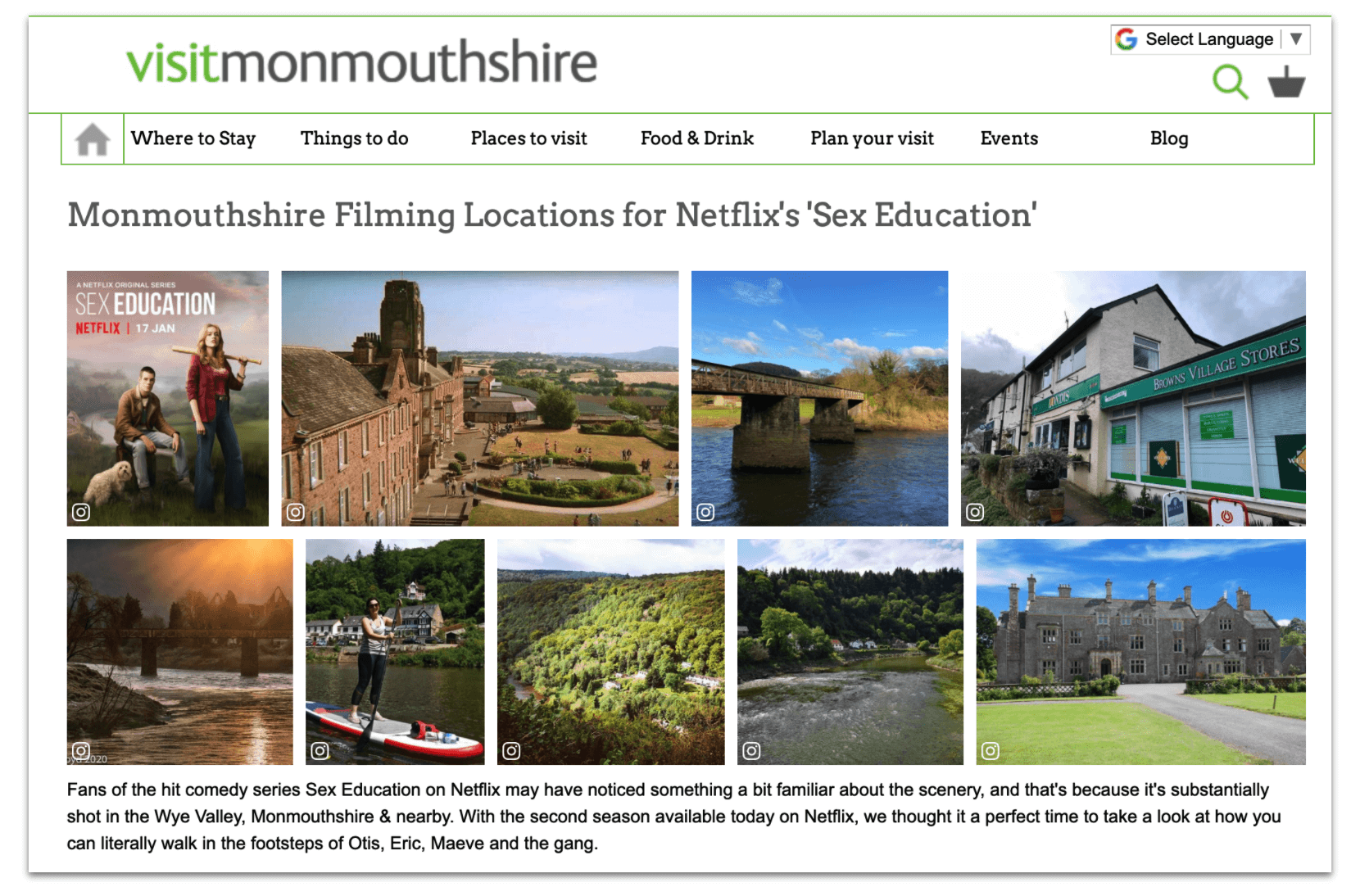 Sex Education filming locations around Monmouthshire