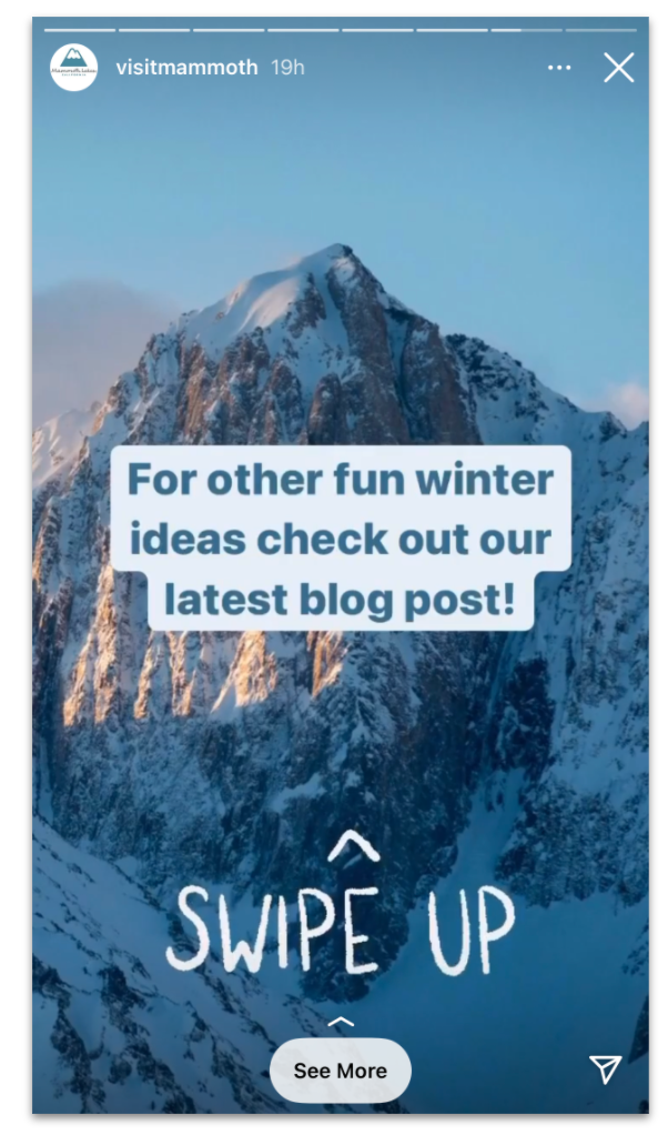 Swipe up Instagram story feature Mammoth Lakes