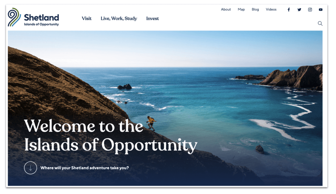 Promote Shetland Islands of Opportunity website homepage header