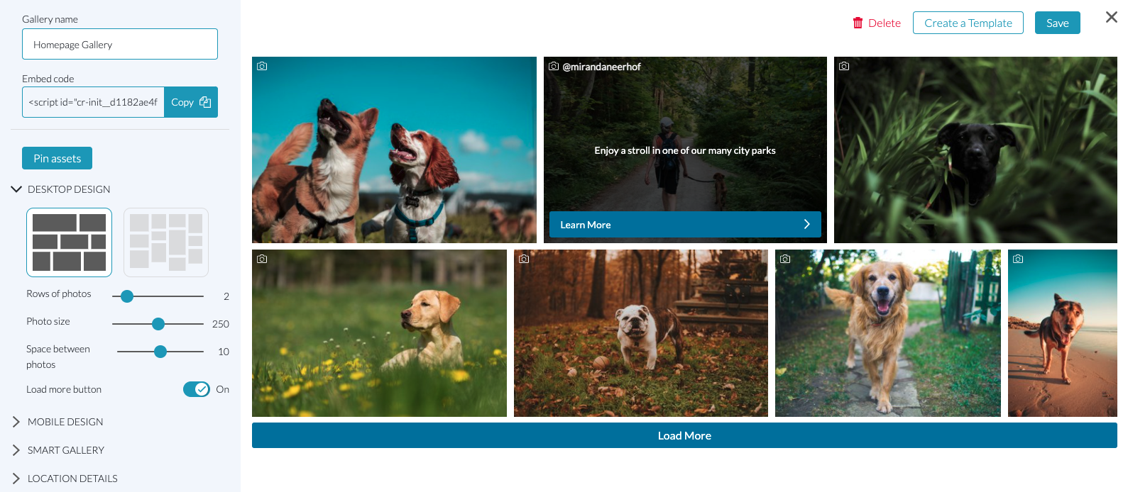 The new Preview when you're creating a Gallery is now interactive
