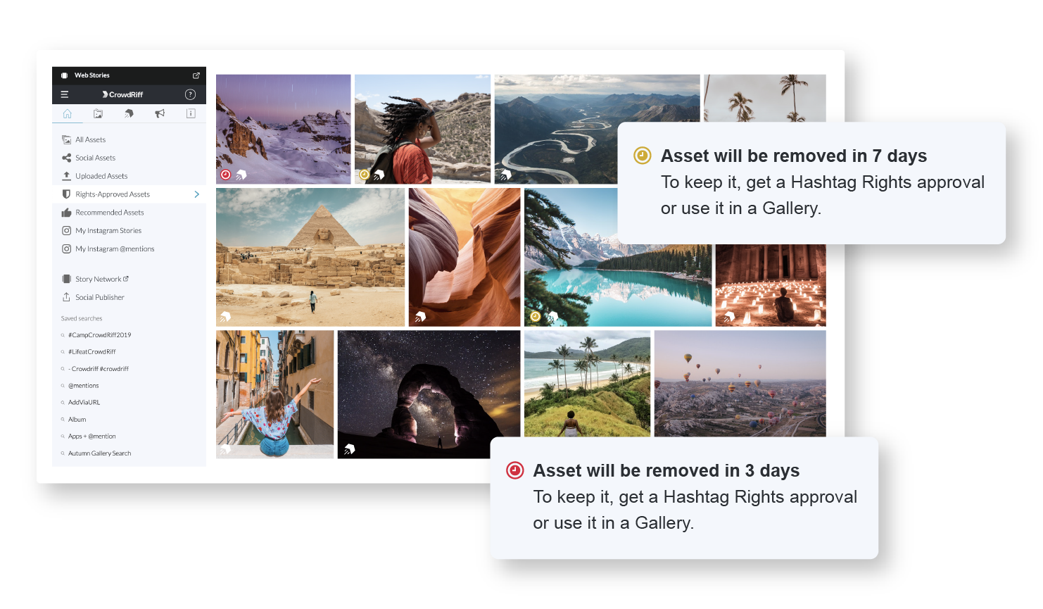 A screenshot of the CrowdRiff platform highlighting that images sourced from Sidekick will be removed after seven days unless they get Hashtag Rights or are used in a Gallery