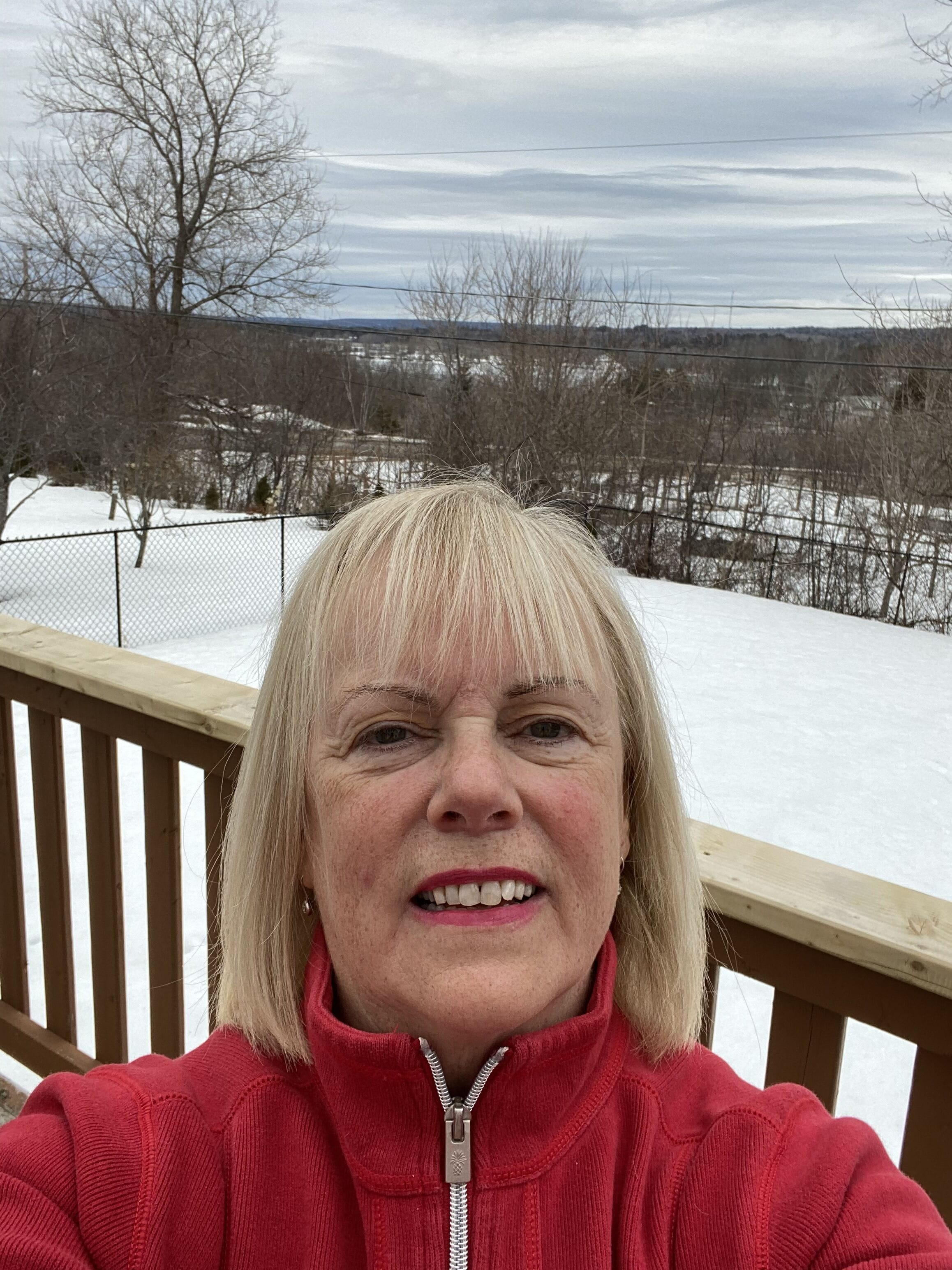 Dr. Ann Collins on her back deck