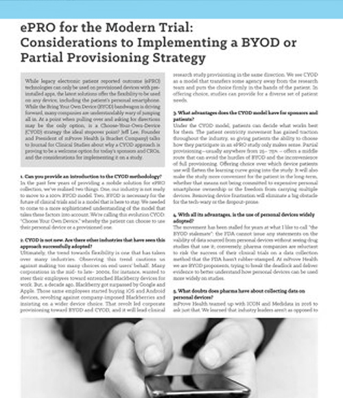 ePRO for the Modern Trial: Considerations to Implementing a BYOD or Partial Provisioning Strategy