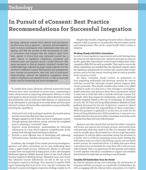 In Pursuit of eConsent: Best Practice Recommendations for Successful Integration
