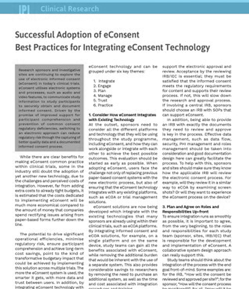 Successful Adoption of eConsent Best Practices for Integrating eConsent Technology