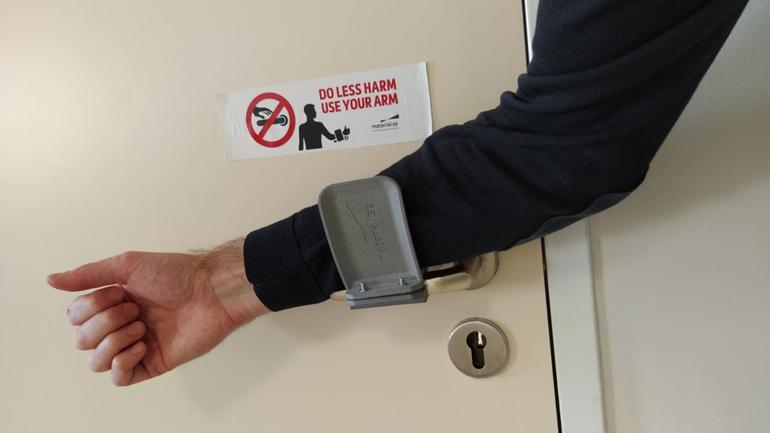 Door handles are among the most germ-infested objects in houses, hospitals, factories, and nursing homes. This hands-free door opener was designed by HP's Digital Manufacturing Network partner Materialise. Image: HP