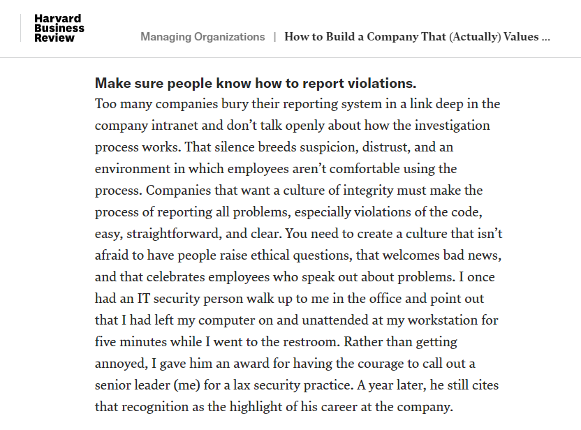 How to Build a Company that Actually Values Integrity by Robert Chesnut in HBR
