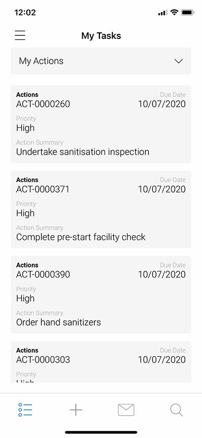SAI360 for EHS: My Tasks
