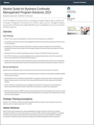 Gartner Market Guide for Business Continuity Management Program Solutions, 2021