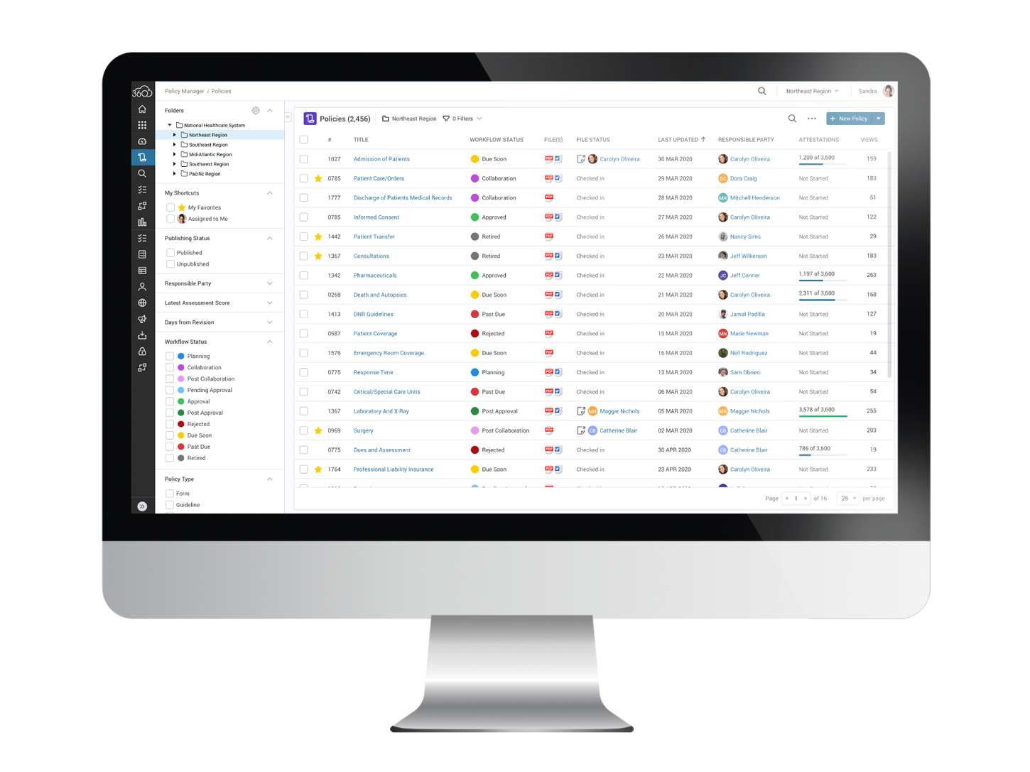 With SAI360 you'll have an up-to-the-minute view of policy reviews, approvals and attestations.