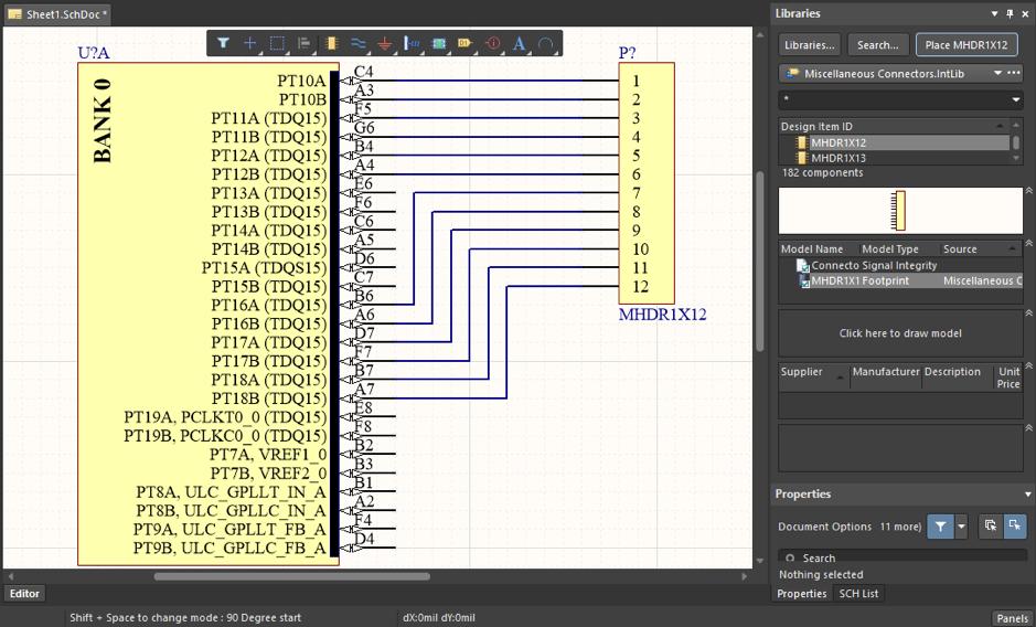 ПЛИС и соединитель в Altium Designer