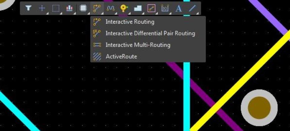 Запуск интерактивного трассировщика из панели Active Bar в Altium Designer