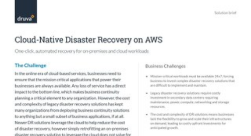 Cloud disaster recovery on AWS