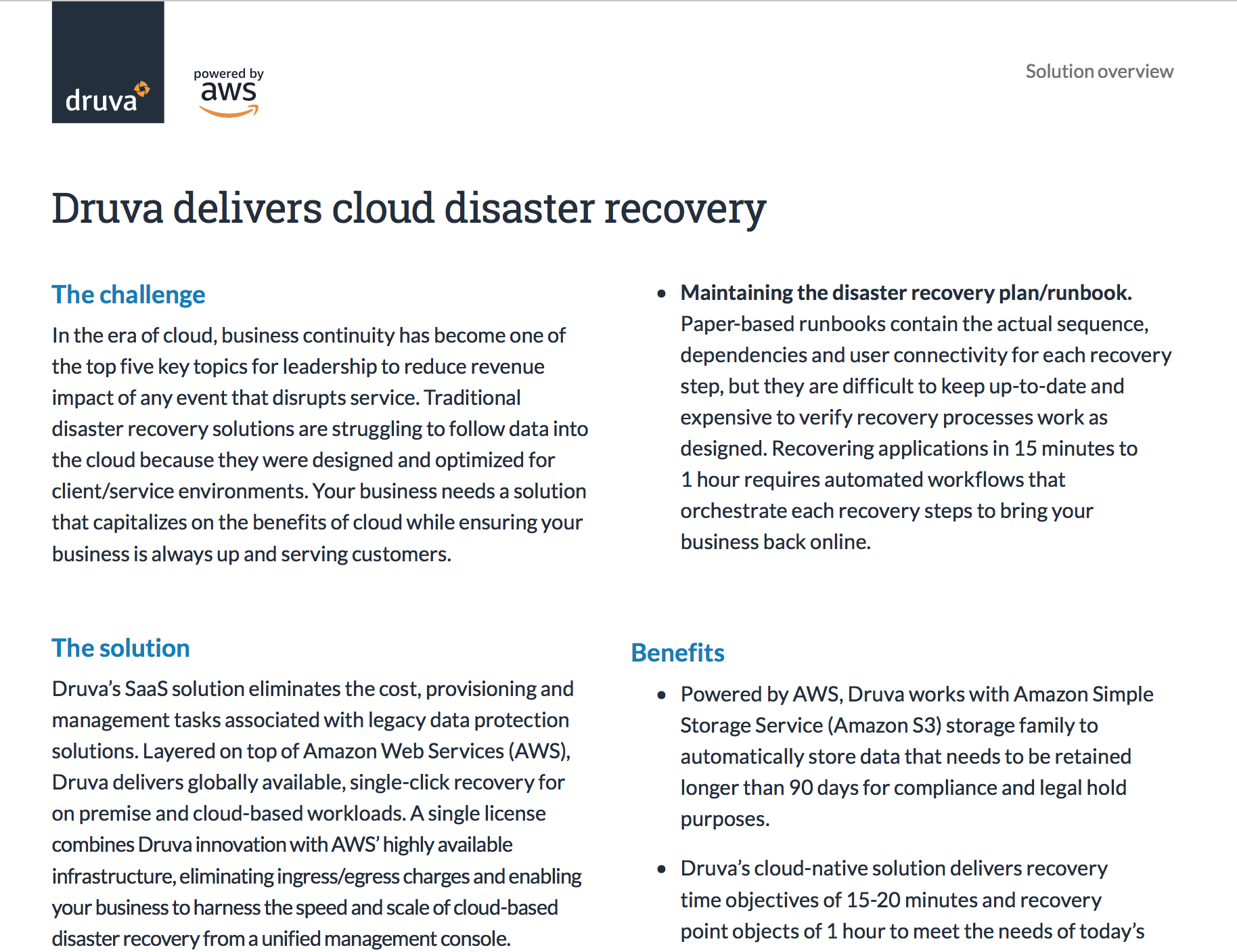 Druva delivers cloud disaster recovery