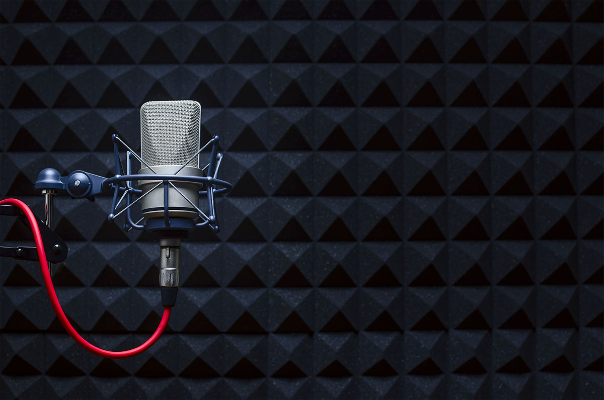 microphone in recording booth