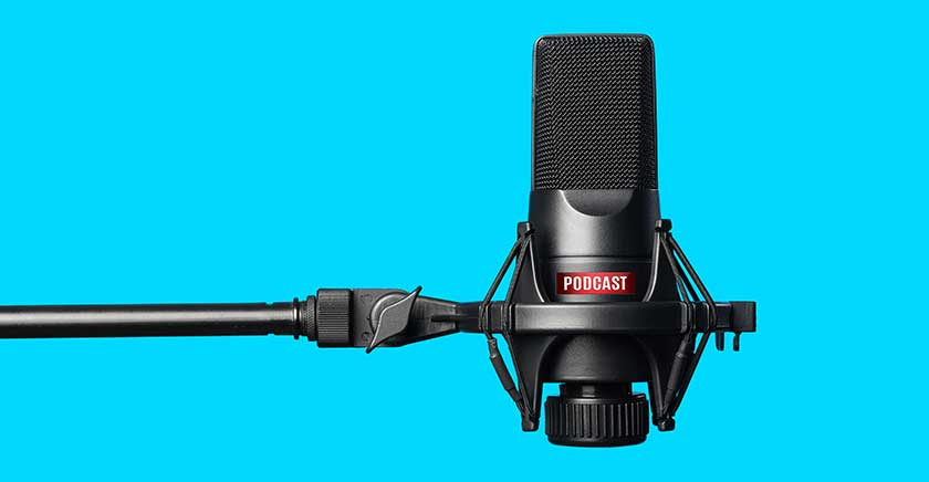 Microphone blue background