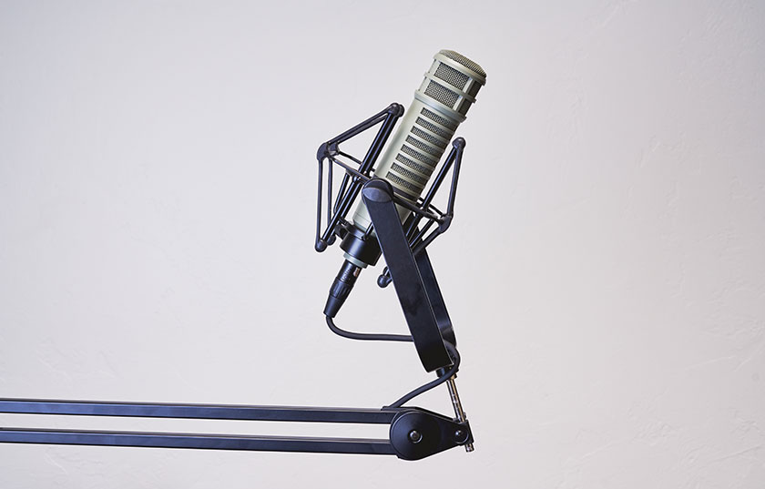 Mic on stand white background