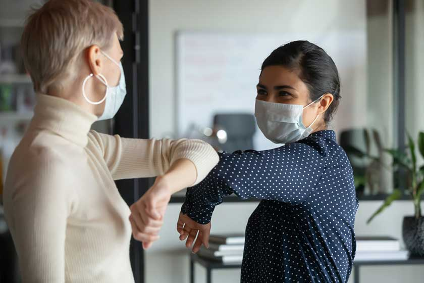 millennials keeping a safe distance focused on health in new company culture