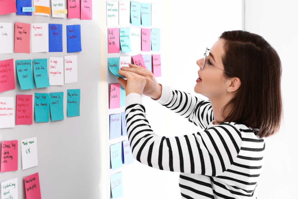 cfo writing on post it notes
