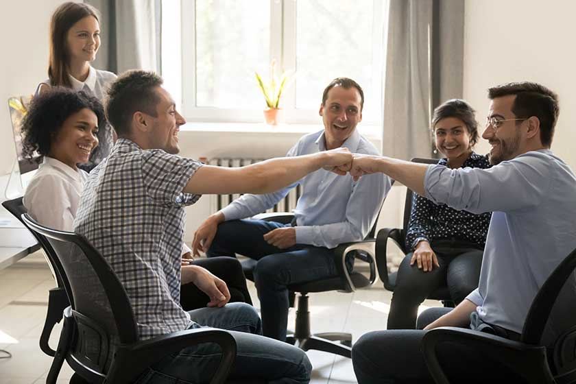 company meeting on strengthening company culture