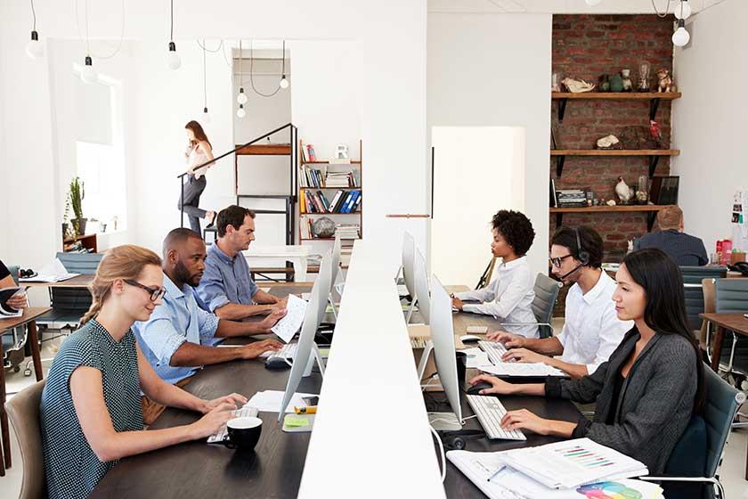 business team analyzing data sets