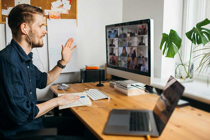 Remote employee on virtual employer company culture onboarding call