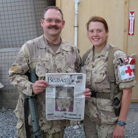 Stephanie and her father in Afghanistan.