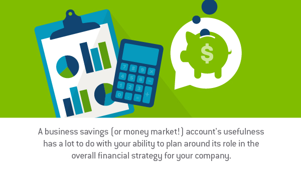 "Graphic design image of a clipboard with multiple bar graphs behind a calculator which is next to a thought bubble that has a piggy bank having coins being placed in it. With the words ""A business savings (or money market!) account's usefulness has a lot to do with your ability to plan around its role in the overall financial strategy for your company."" - TAB Bank"