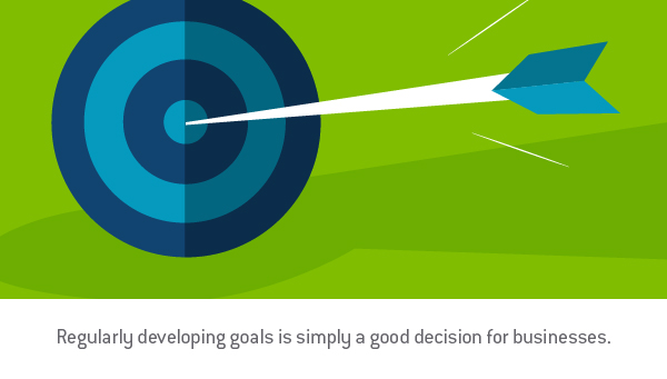 "Graphic design image of a an arrow in a the center of a target with the words, ""Regularly developing goals is simply a good decision for businesses."" - TAB Bank"