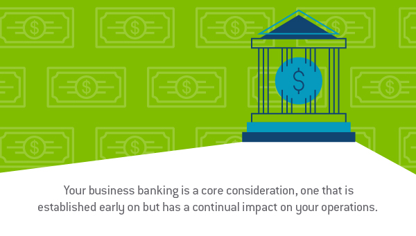 "Graphic design image of a building that represents a bank with a background of cash with the words, ""Your business banking is a core consideration, one that is established on but has a continual impact on your operations."" - TAB Bank"