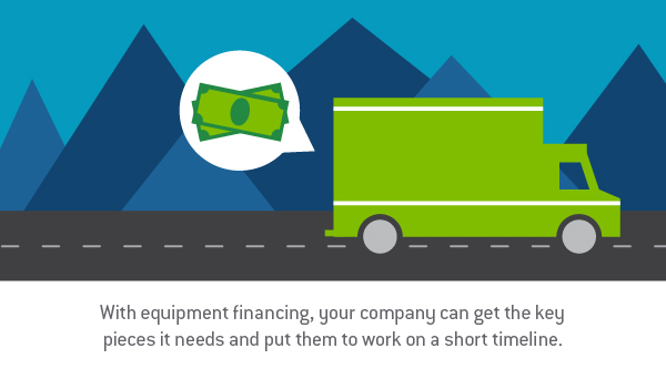 "Graphic design image of a truck followed by a speech bubble of cash driving on a mountain road with words, ""With equipment financing, your company can get the key pieces in needs and put them to work on a short timeline."" - TAB Bank"
