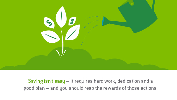 "Graphic design image of a plant with dollar signs being watered by a watering can with the words, ""Saving isn't easy - it requires hard work, dedication and a good plan - and you should reap the rewards of those actions."" - TAB Bank"